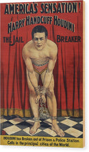 Vintage Harry Houdini Americas Sensation Jail Breaker Poster, 1905 - Wood Print from Wallasso - The Wall Art Superstore