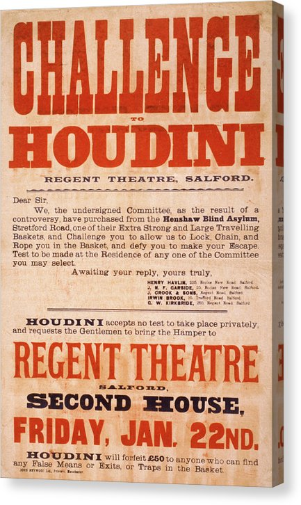 Vintage Harry Houdini Challenge Poster, 1904 - Canvas Print from Wallasso - The Wall Art Superstore