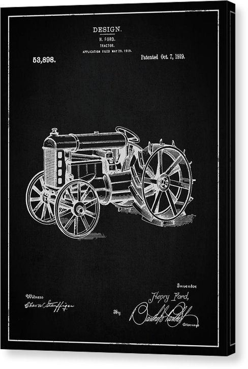 Vintage Henry Ford Tractor Patent, 1919 - Canvas Print from Wallasso - The Wall Art Superstore