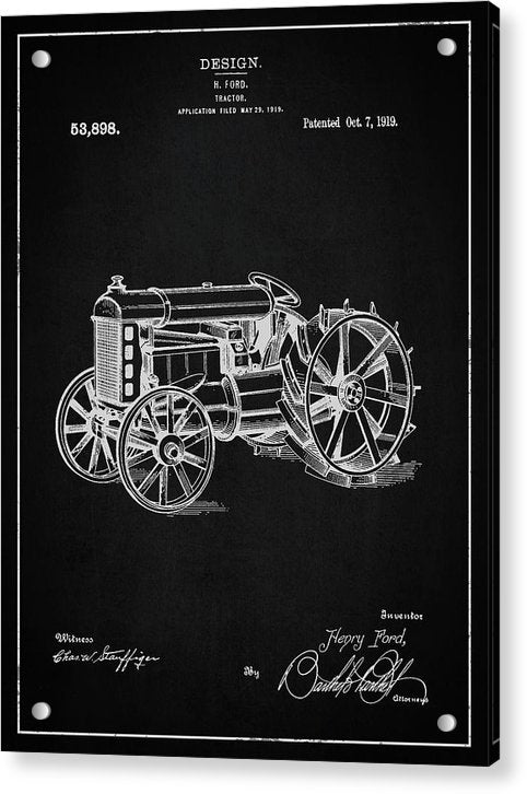 Vintage Henry Ford Tractor Patent, 1919 - Acrylic Print from Wallasso - The Wall Art Superstore