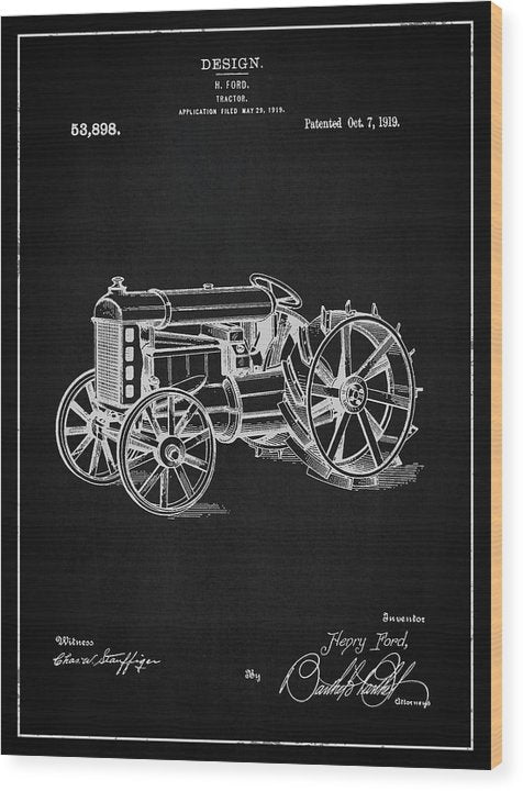 Vintage Henry Ford Tractor Patent, 1919 - Wood Print from Wallasso - The Wall Art Superstore