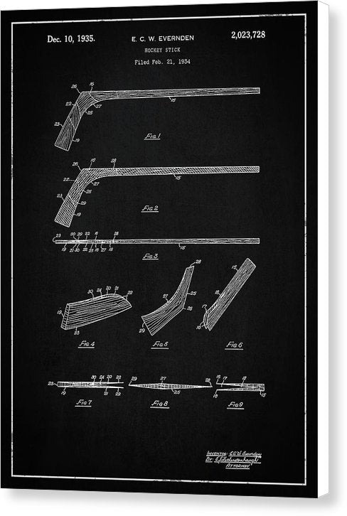 Vintage Hockey Stick Patent, 1935 - Canvas Print from Wallasso - The Wall Art Superstore