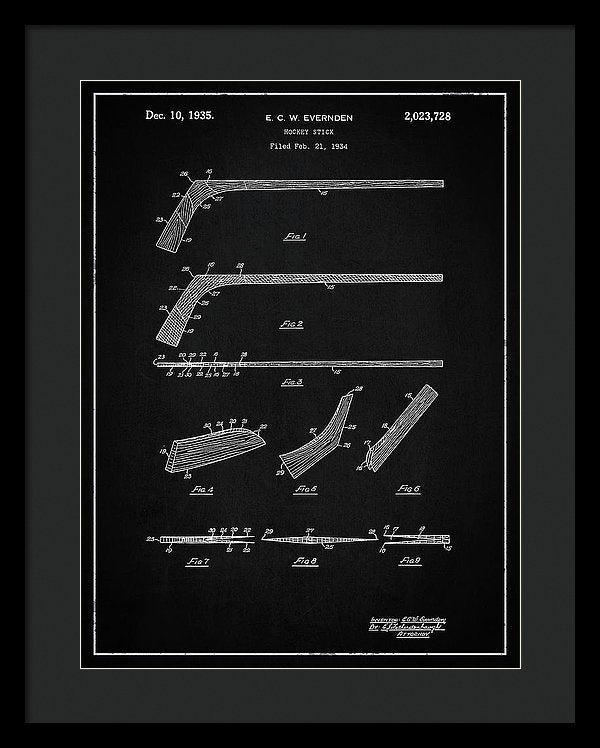 Vintage Hockey Stick Patent, 1935 - Framed Print from Wallasso - The Wall Art Superstore