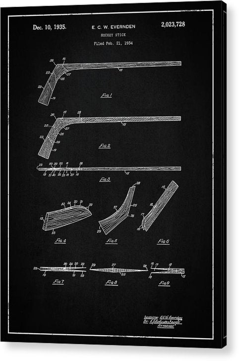 Vintage Hockey Stick Patent, 1935 - Acrylic Print from Wallasso - The Wall Art Superstore
