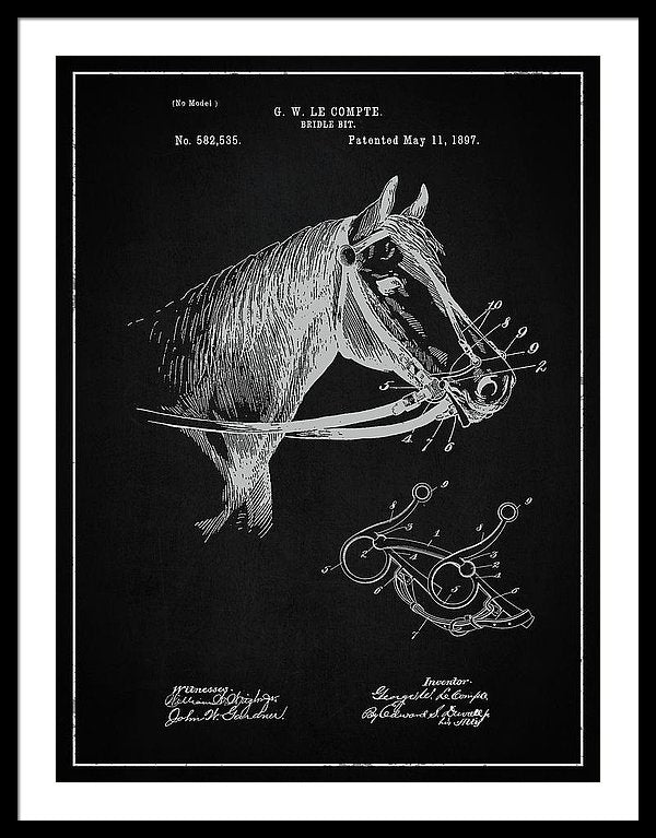Vintage Horse Bridle Patent, 1897 - Framed Print from Wallasso - The Wall Art Superstore