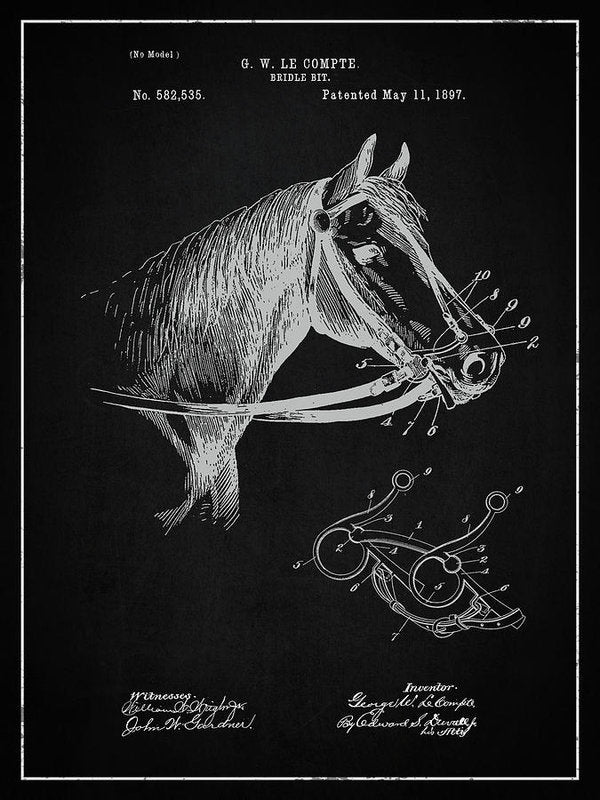 Vintage Horse Bridle Patent, 1897 - Art Print from Wallasso - The Wall Art Superstore