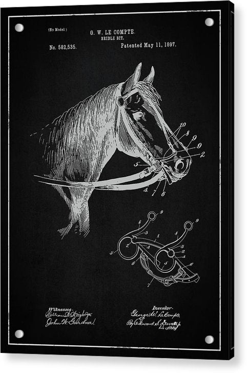 Vintage Horse Bridle Patent, 1897 - Acrylic Print from Wallasso - The Wall Art Superstore