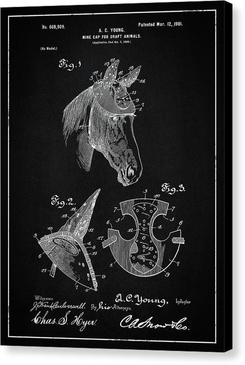 Vintage Horse Hard Hat Patent, 1901 - Canvas Print from Wallasso - The Wall Art Superstore