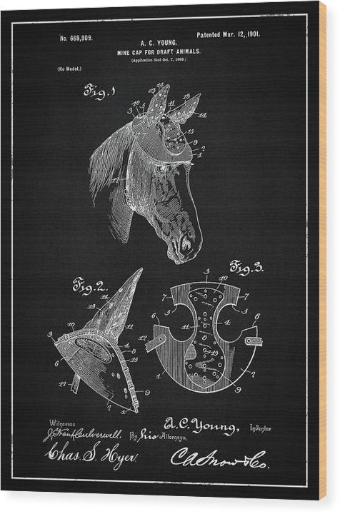 Vintage Horse Hard Hat Patent, 1901 - Wood Print from Wallasso - The Wall Art Superstore