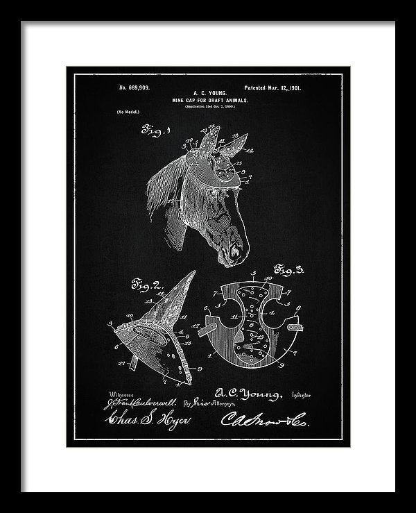 Vintage Horse Hard Hat Patent, 1901 - Framed Print from Wallasso - The Wall Art Superstore