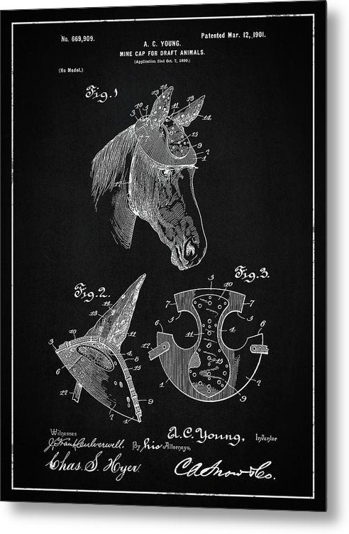 Vintage Horse Hard Hat Patent, 1901 - Metal Print from Wallasso - The Wall Art Superstore