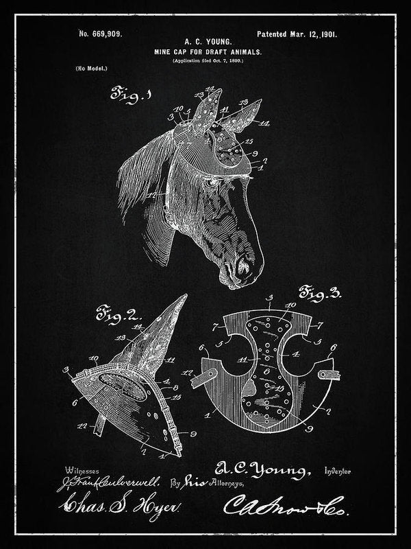 Vintage Horse Hard Hat Patent, 1901 - Art Print from Wallasso - The Wall Art Superstore