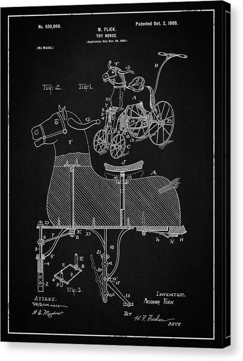 Vintage Horse Riding Push Toy Patent, 1900 - Canvas Print from Wallasso - The Wall Art Superstore