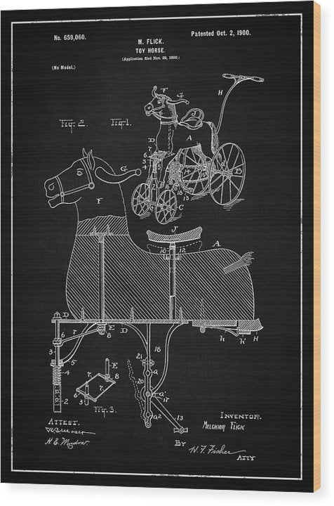 Vintage Horse Riding Push Toy Patent, 1900 - Wood Print from Wallasso - The Wall Art Superstore