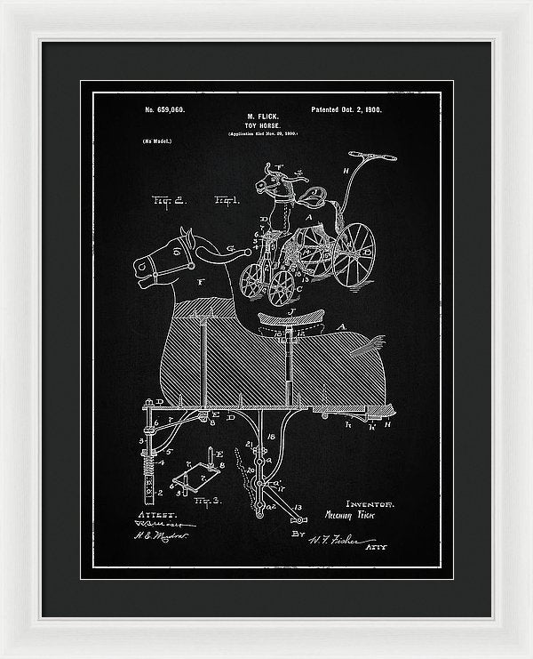 Vintage Horse Riding Push Toy Patent, 1900 - Framed Print from Wallasso - The Wall Art Superstore