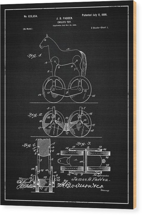 Vintage Horse Toy Patent, 1899 - Wood Print from Wallasso - The Wall Art Superstore