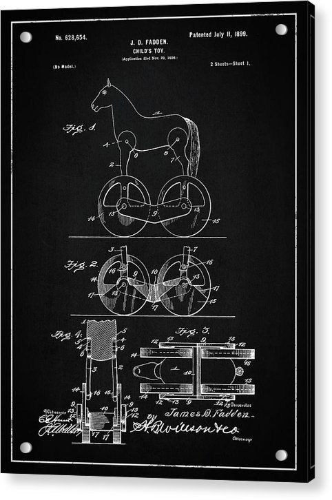 Vintage Horse Toy Patent, 1899 - Acrylic Print from Wallasso - The Wall Art Superstore