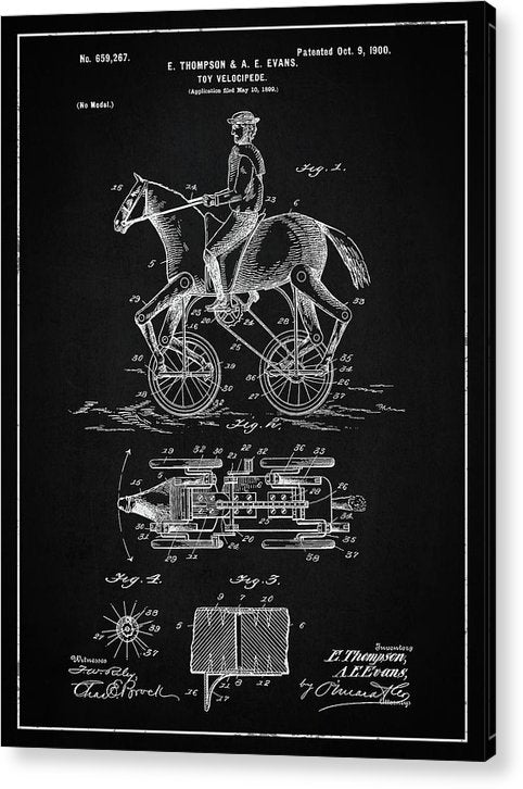 Vintage Horse and Rider Toy Patent, 1900 - Acrylic Print from Wallasso - The Wall Art Superstore