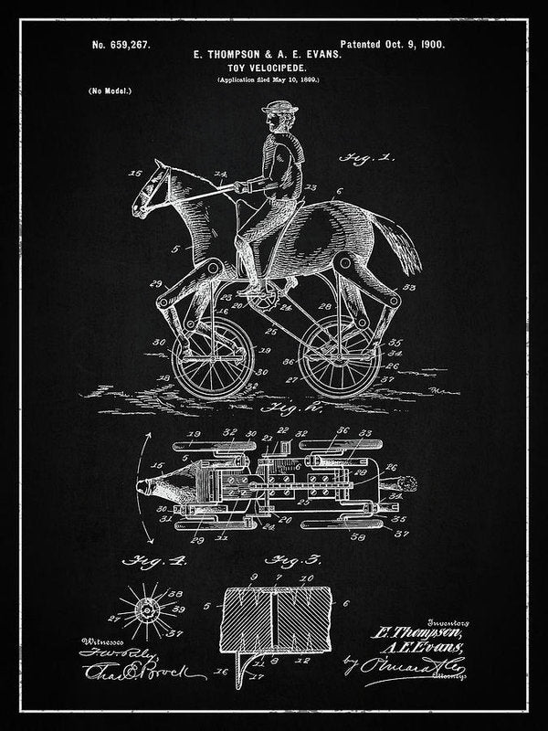Vintage Horse and Rider Toy Patent, 1900 - Art Print from Wallasso - The Wall Art Superstore