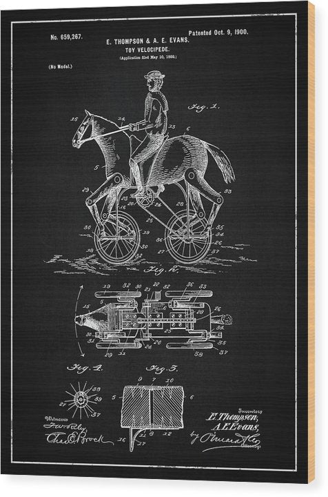 Vintage Horse and Rider Toy Patent, 1900 - Wood Print from Wallasso - The Wall Art Superstore