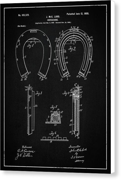 Vintage Horseshoe Patent, 1900 - Canvas Print from Wallasso - The Wall Art Superstore