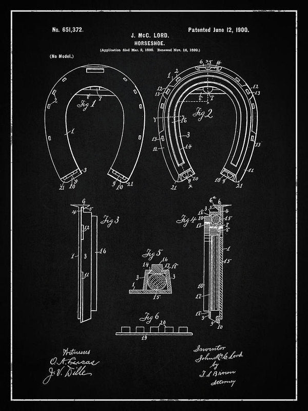 Vintage Horseshoe Patent, 1900 - Art Print from Wallasso - The Wall Art Superstore