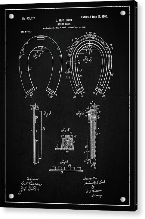 Vintage Horseshoe Patent, 1900 - Acrylic Print from Wallasso - The Wall Art Superstore