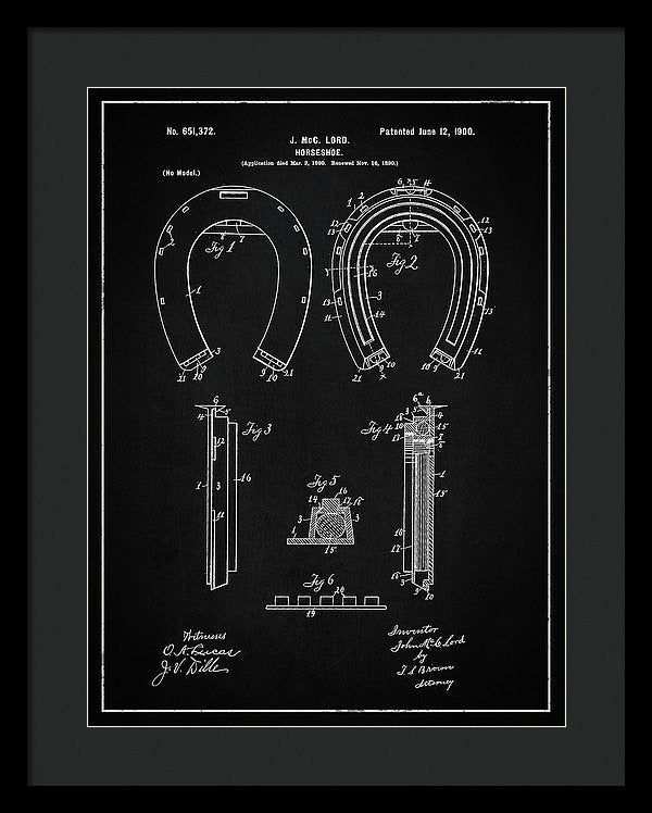Vintage Horseshoe Patent, 1900 - Framed Print from Wallasso - The Wall Art Superstore