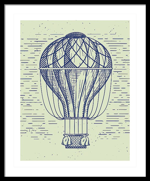 Vintage Hot Air Balloon Drawing With White Border - Framed Print from Wallasso - The Wall Art Superstore