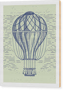 Vintage Hot Air Balloon Drawing With White Border - Wood Print from Wallasso - The Wall Art Superstore