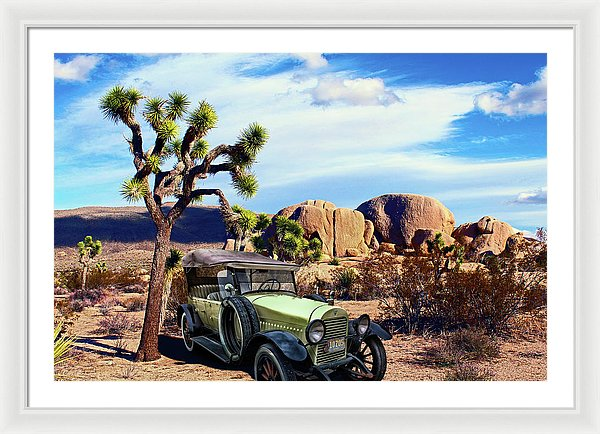 Vintage Hudson Car In Desert Composite - Framed Print from Wallasso - The Wall Art Superstore
