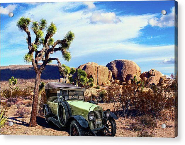Vintage Hudson Car In Desert Composite - Acrylic Print from Wallasso - The Wall Art Superstore