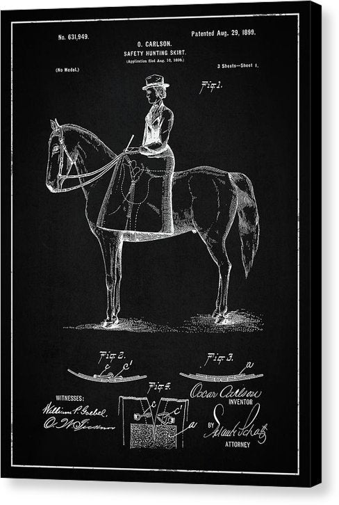 Vintage Hunting Skirt Patent, 1899 - Canvas Print from Wallasso - The Wall Art Superstore