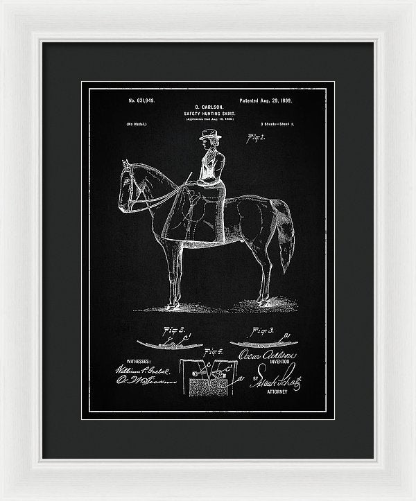 Vintage Hunting Skirt Patent, 1899 - Framed Print from Wallasso - The Wall Art Superstore