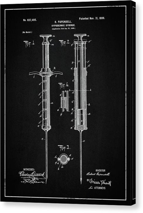 Vintage Hypodermic Syringe Patent, 1899 - Canvas Print from Wallasso - The Wall Art Superstore