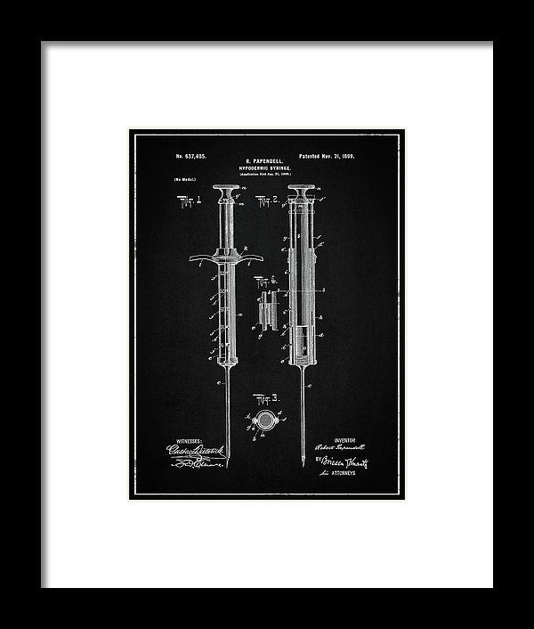 Vintage Hypodermic Syringe Patent, 1899 - Framed Print from Wallasso - The Wall Art Superstore