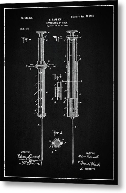 Vintage Hypodermic Syringe Patent, 1899 - Metal Print from Wallasso - The Wall Art Superstore