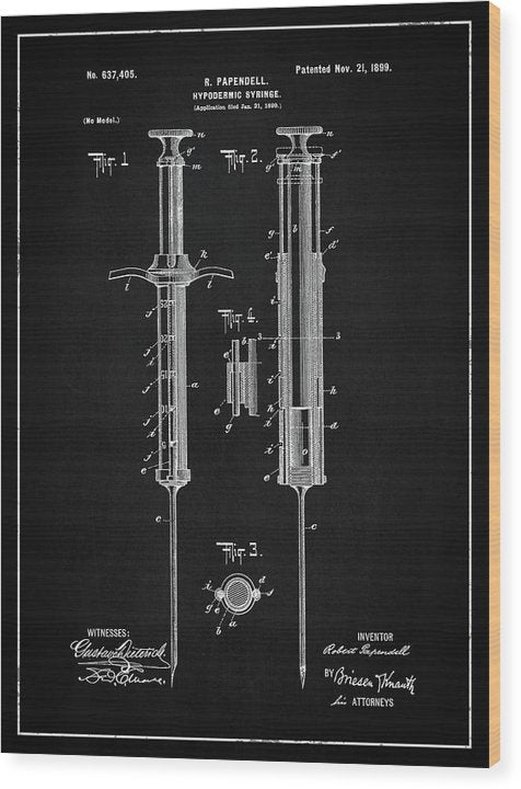 Vintage Hypodermic Syringe Patent, 1899 - Wood Print from Wallasso - The Wall Art Superstore