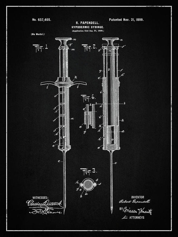 Vintage Hypodermic Syringe Patent, 1899 - Art Print from Wallasso - The Wall Art Superstore
