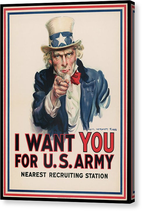 Vintage I Want You Uncle Sam Recruitment Poster, 1917 - Canvas Print from Wallasso - The Wall Art Superstore