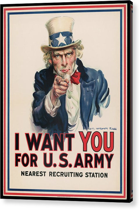 Vintage I Want You Uncle Sam Recruitment Poster, 1917 - Acrylic Print from Wallasso - The Wall Art Superstore