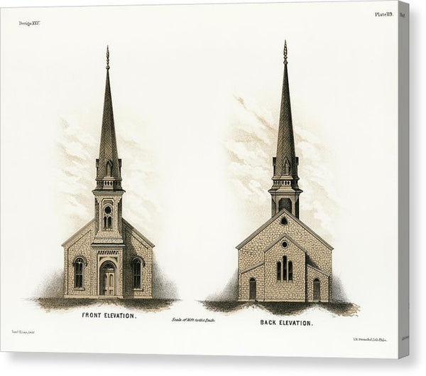 Vintage Illustration of American Church - Canvas Print from Wallasso - The Wall Art Superstore
