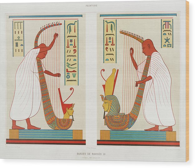 Vintage Illustration of Ancient Egyptian Harp Players - Wood Print from Wallasso - The Wall Art Superstore