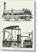 Vintage Illustration of Antique Locomotive Engine, 1891 - Metal Print from Wallasso - The Wall Art Superstore