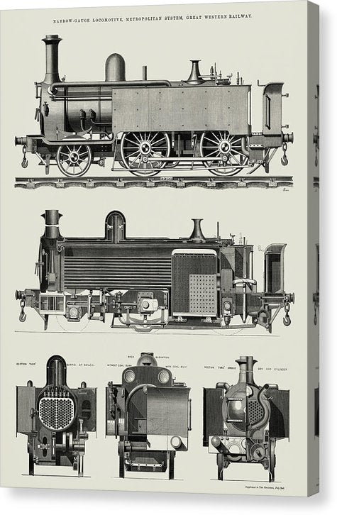 Vintage Illustration of Antique Train Engine, 1869 - Canvas Print from Wallasso - The Wall Art Superstore