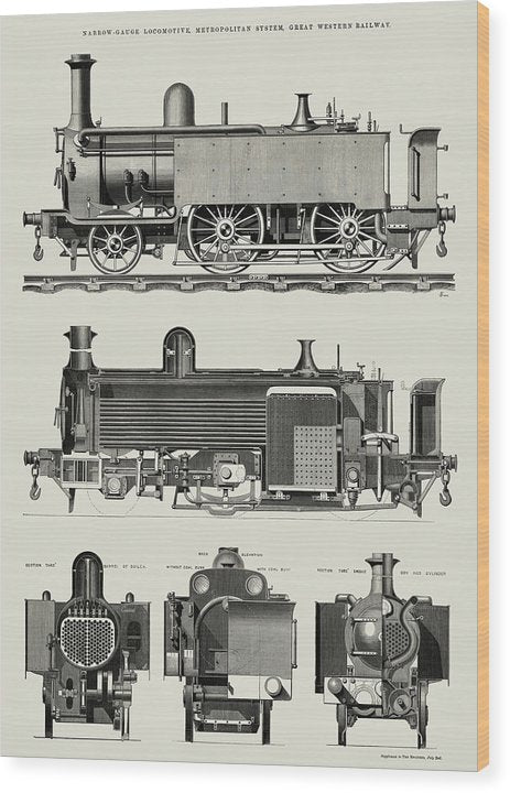 Vintage Illustration of Antique Train Engine, 1869 - Wood Print from Wallasso - The Wall Art Superstore