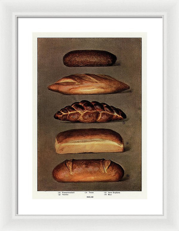 Vintage Illustration of Baked Bread From 1911, 2 of 2 Set - Framed Print from Wallasso - The Wall Art Superstore
