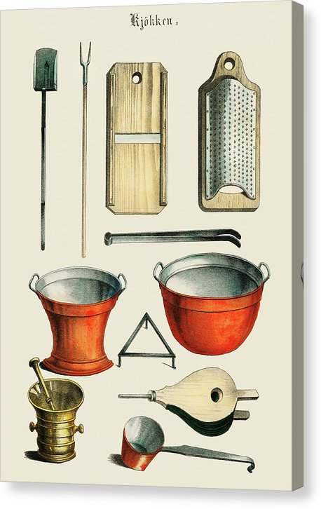 Vintage Illustration Of Kitchenware - Canvas Print from Wallasso - The Wall Art Superstore