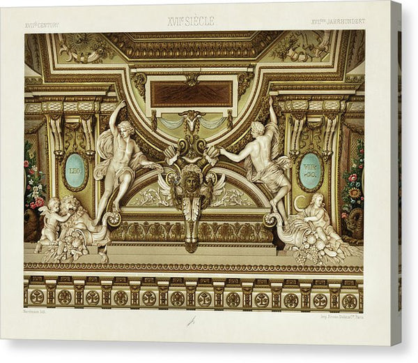 Vintage Illustration of Ornate Sculptures, 1650 - Canvas Print from Wallasso - The Wall Art Superstore