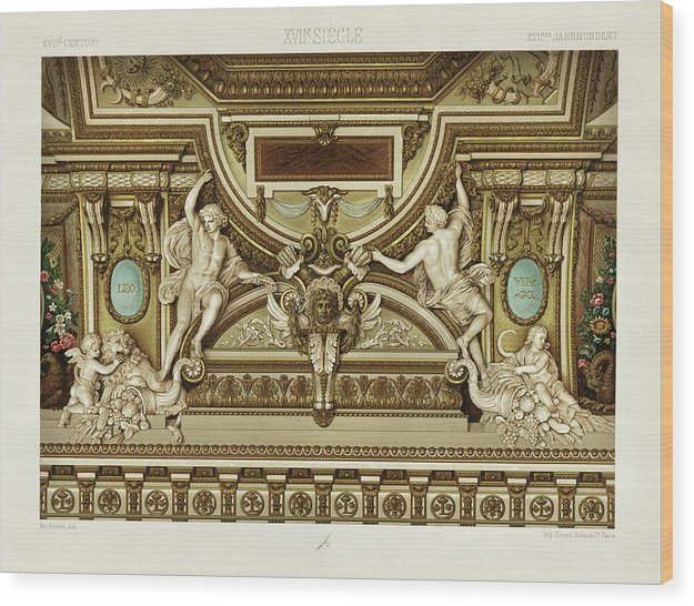 Vintage Illustration of Ornate Sculptures, 1650 - Wood Print from Wallasso - The Wall Art Superstore